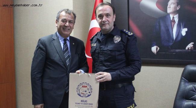 MİTSO, Milas'ın yeni Emniyet Müdürü Erman Akkaya'yı ziyaret ederek kutladı