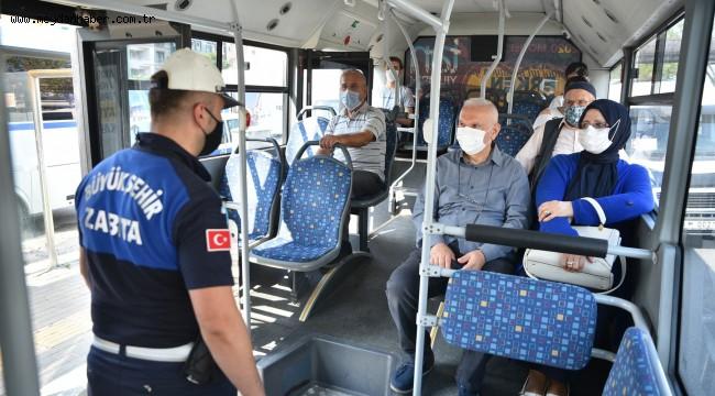 Otobüs ve minibüslerde maske ve mesafe denetimleri gerçekleştirildi